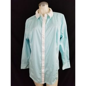 Lane Bryant Size 18 Blue White Button Down Shirt